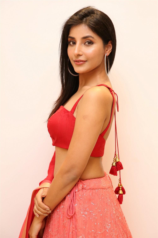 Harshita Gaur in Transparent Red Chania Choli Stunning Beauty at Q9 Fashion Studio Launch