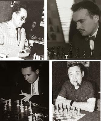 Los ajedrecistas del Club Ajedrez Terrassa Jaume Mora, Miquel Farré, Josep Ridameya y Francisco Ballbé Anglada