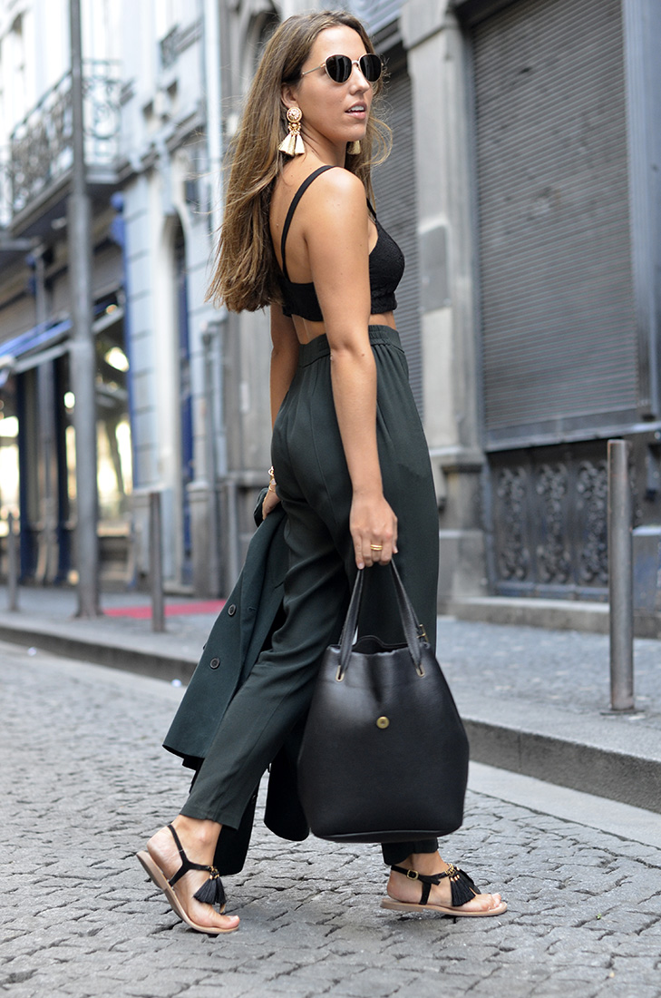 Streetstyle - Wearing green suit, black crop top, dior sunglasses, maria maleta bag and gioseppo sandals
