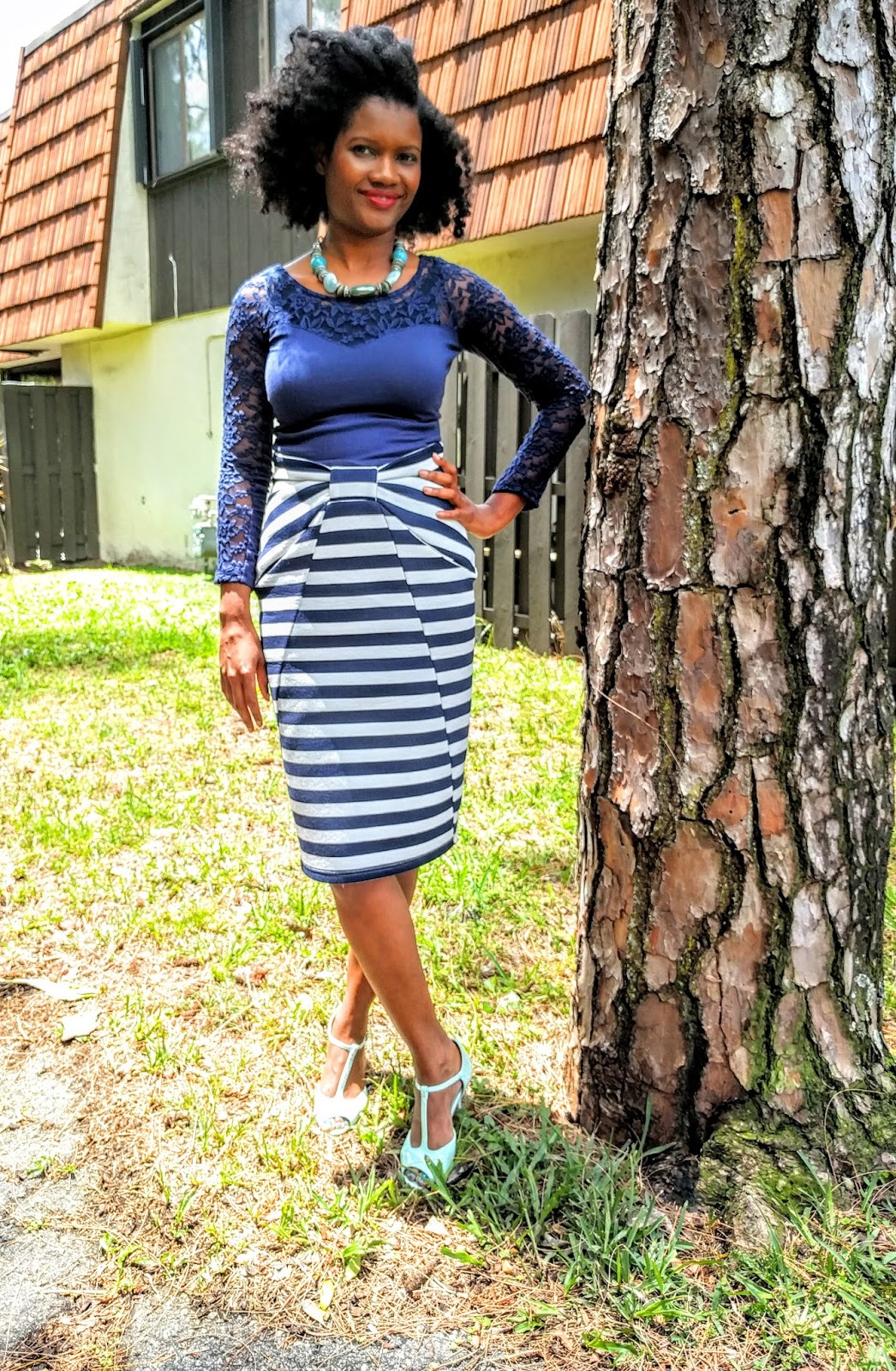 aecd8e366d8 anointedheels  Navy and Mint - Stripe Skirt Spring Fashion church attire