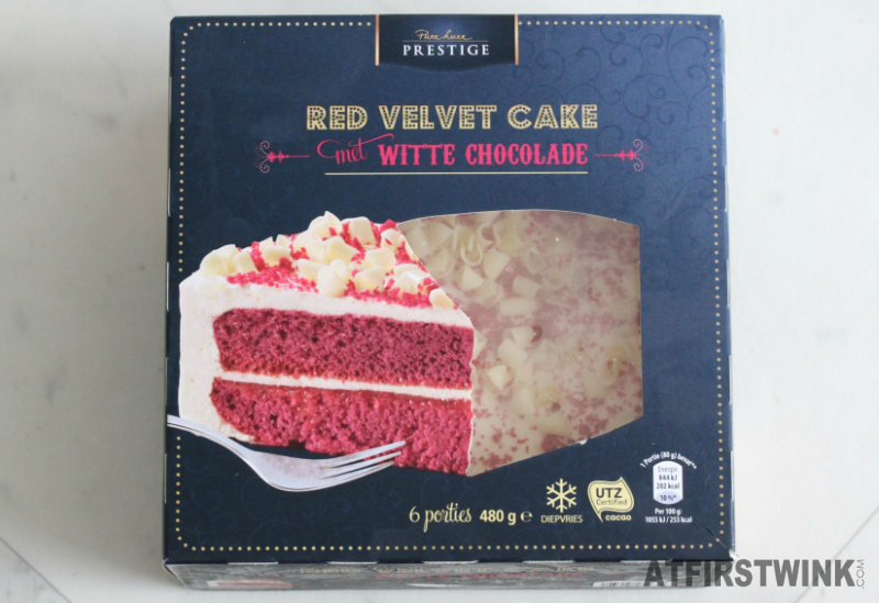 Aldi Prestige Red velvet cake with white chocolate 450 g €3.89 box