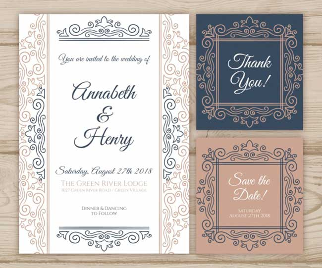 Wedding cards collection with ornaments download