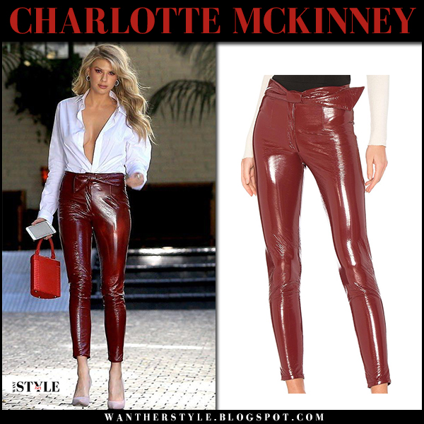 Charlotte McKinney in white shirt and dark red patent skinny pants lpa street fashion february 2