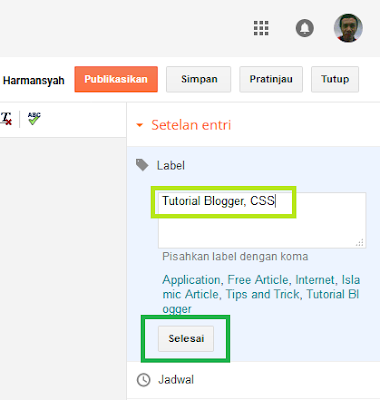 Cara memberi Label atau Kategori pada Postingan di Blogger