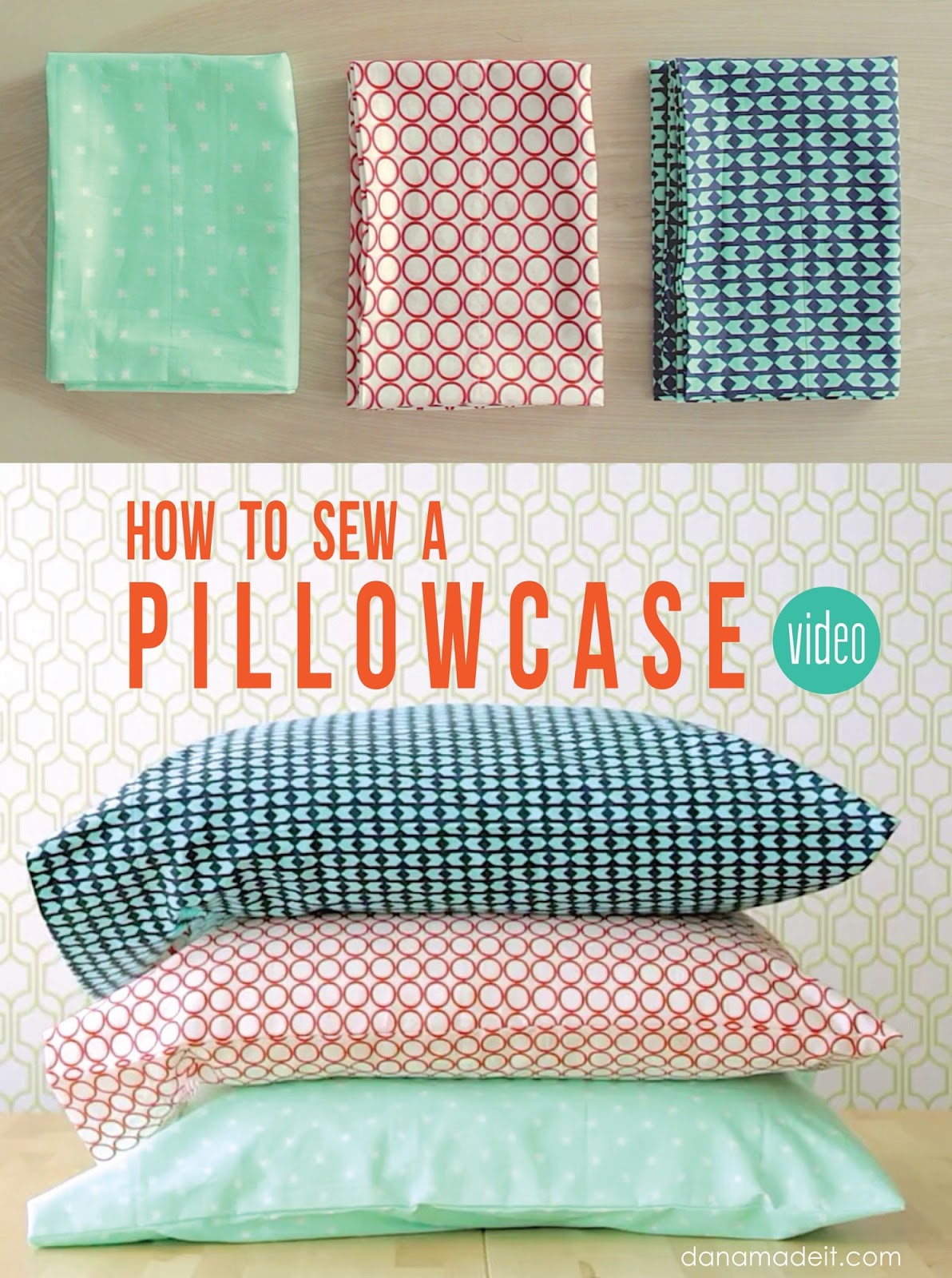 Sewing Project Fabric Basket Tutorial: How To Sew A Pillowcase • 2 Ways • 1 Yard Of Fabric