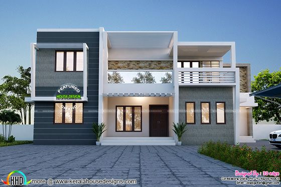 Simple and elegant contemporary duplex home kerala home for Simple elegant modern house