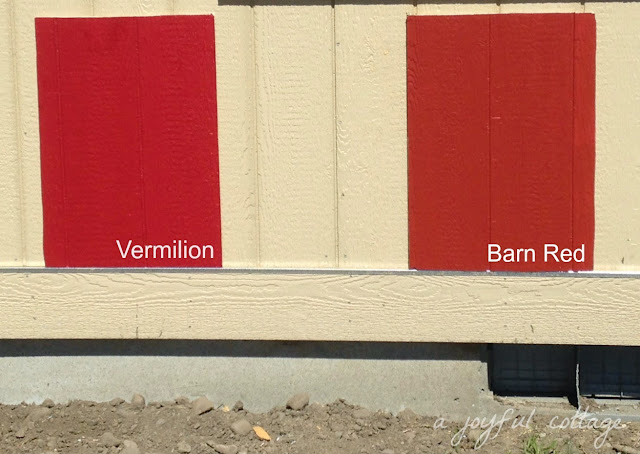 I Tested Two Red Paint Samples On Siding Remnants Vermilion By Sherwin Williams And Barn Behr