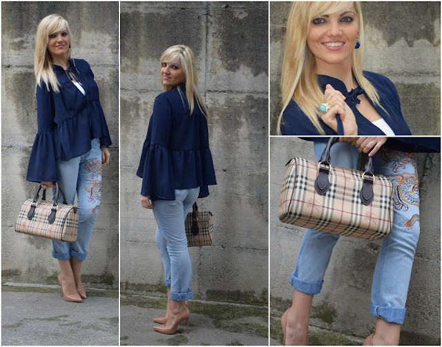 outfit jeans ricamati embroidered jeans outfit blu blue outfit how to wear blue abbinamenti jeans ricamati jeans e tacchi mariafelicia magno fashion blogger colorblock by felym fashion blog italiani fashion blogger italiane blogger italiane di moda outfit ottobre web influencer italiane web influencer