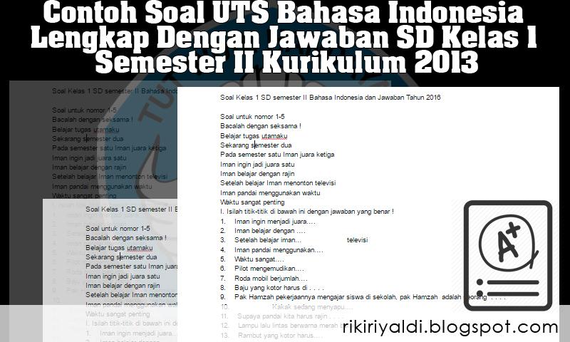 Contoh Soal Uts Bahasa Indonesia Lengkap Dengan Jawaban Sd