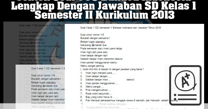 Contoh Soal Uts Bahasa Indonesia Lengkap Dengan Jawaban Sd Kelas 1 Semester Ii Kurikulum 2013