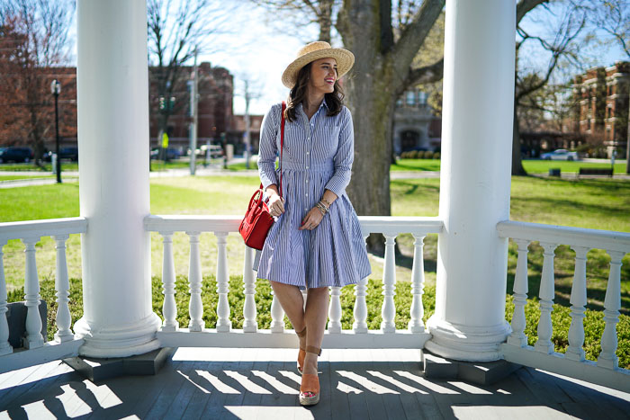 Krista Robertson, Covering the Bases, Travel Blog, NYC Blog, Preppy Blog, Style, Women's Fashion Blog, Fashion, Fashion Blog, Spring Style, Spring Fashion, Eliza J, Button Up Shirt Dress, Striped Dresses, Classic Style, Outfit of the Day