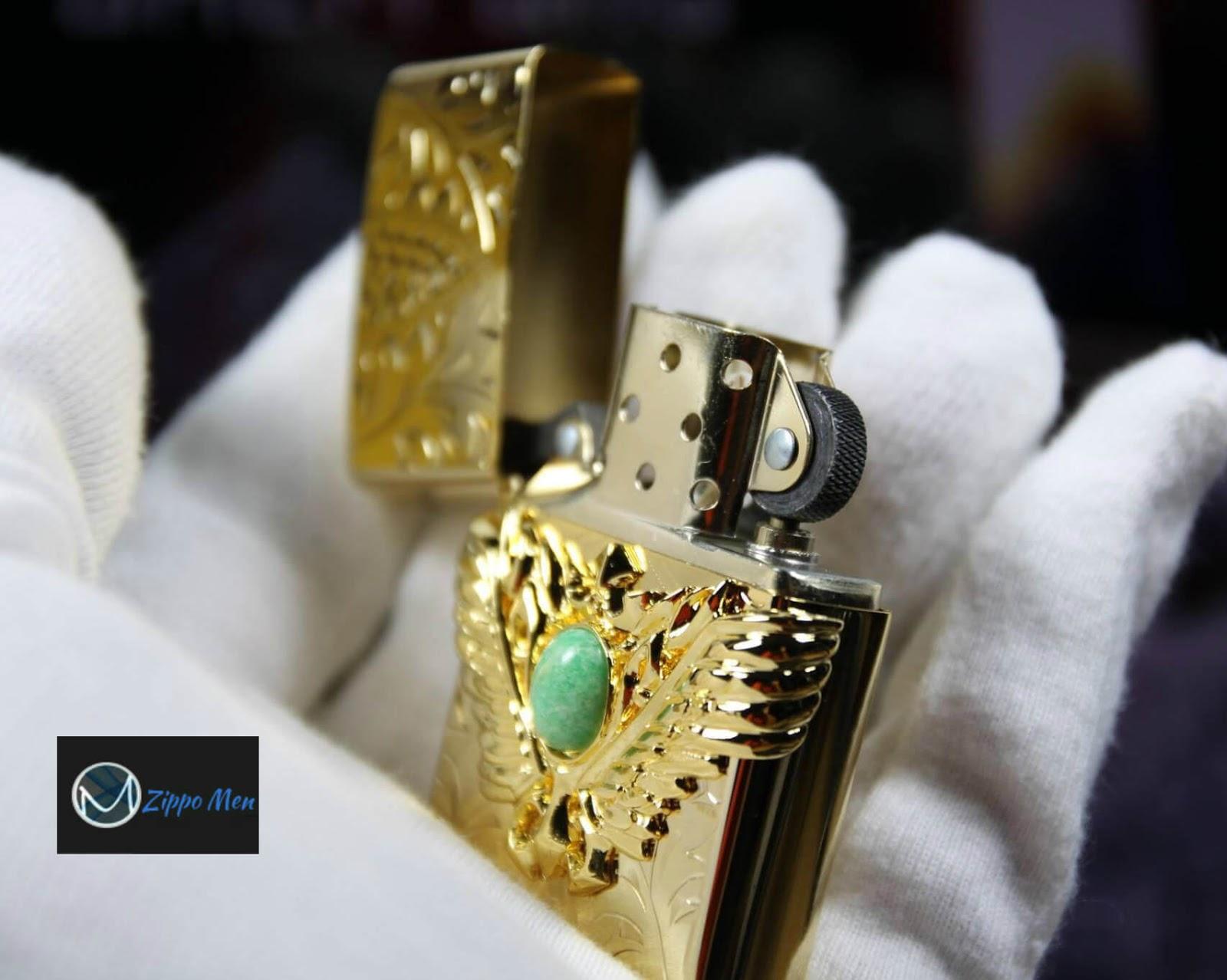 Zippo Mạ Vàng Đính Đá Cao Cấp | Zippo Men