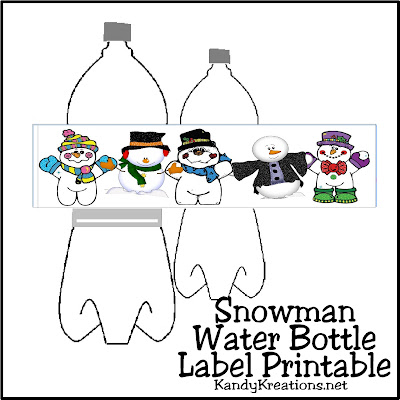 Dress up your water bottles with these cute Snowman label printables.  They are perfect to bring to a sledding party or for a fun afternoon out in the snow.  Printable has 5 cute snowmen holding hands and will cover 4 water bottles.