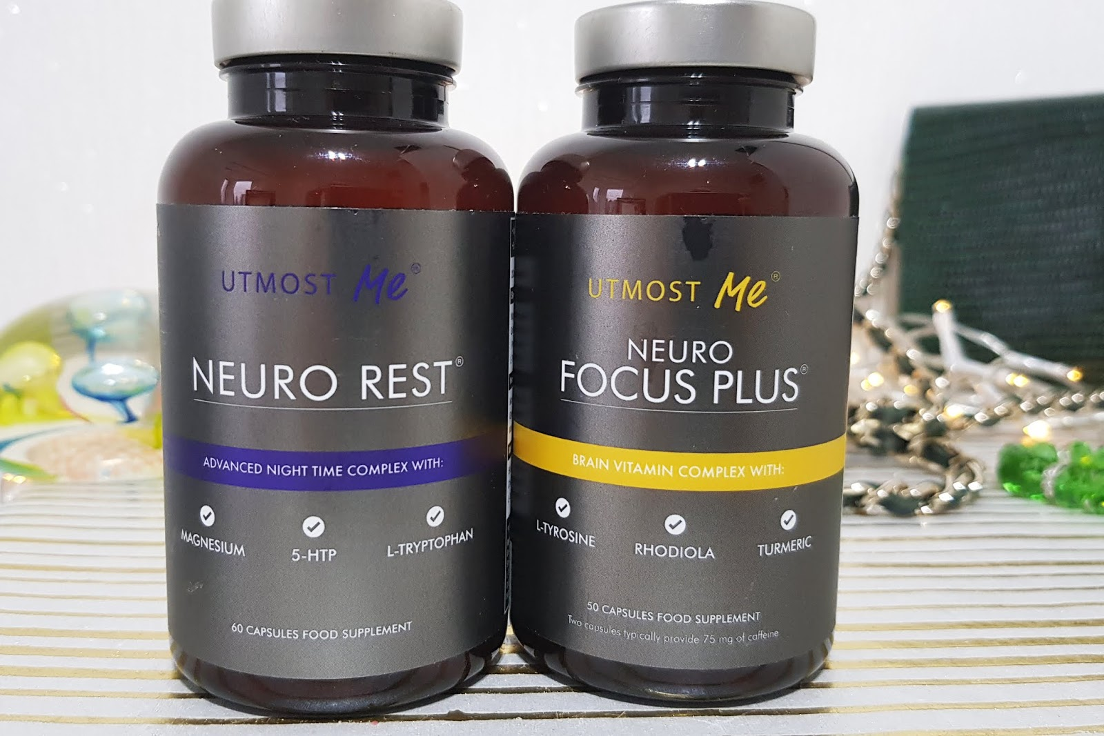 Two bottles of nootropic supplements, Neuro Rest and Neuro Focus Plus, from Is This Mutton's review