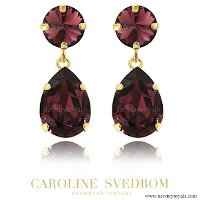 Crown Princess Victoria wears Caroline Svedbom Jewelry Burgundy Classic Drop Earring
