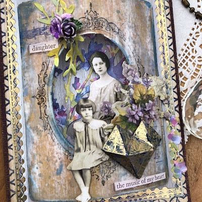 Sara Emily Barker Vintage Valentine Card  https://sarascloset1.blogspot.com/2019/01/the-music-of-my-heart-vintage-valentine.html Tim Holtz Sizzix Faceted Heart and Organic Stampers Anonymous Lattice & Flourish 6