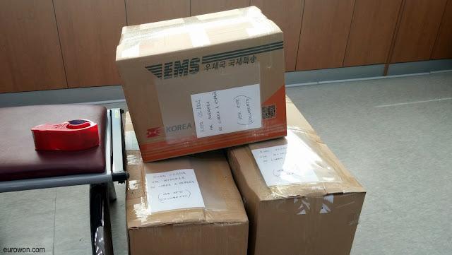 Cajas enviadas de Corea a España
