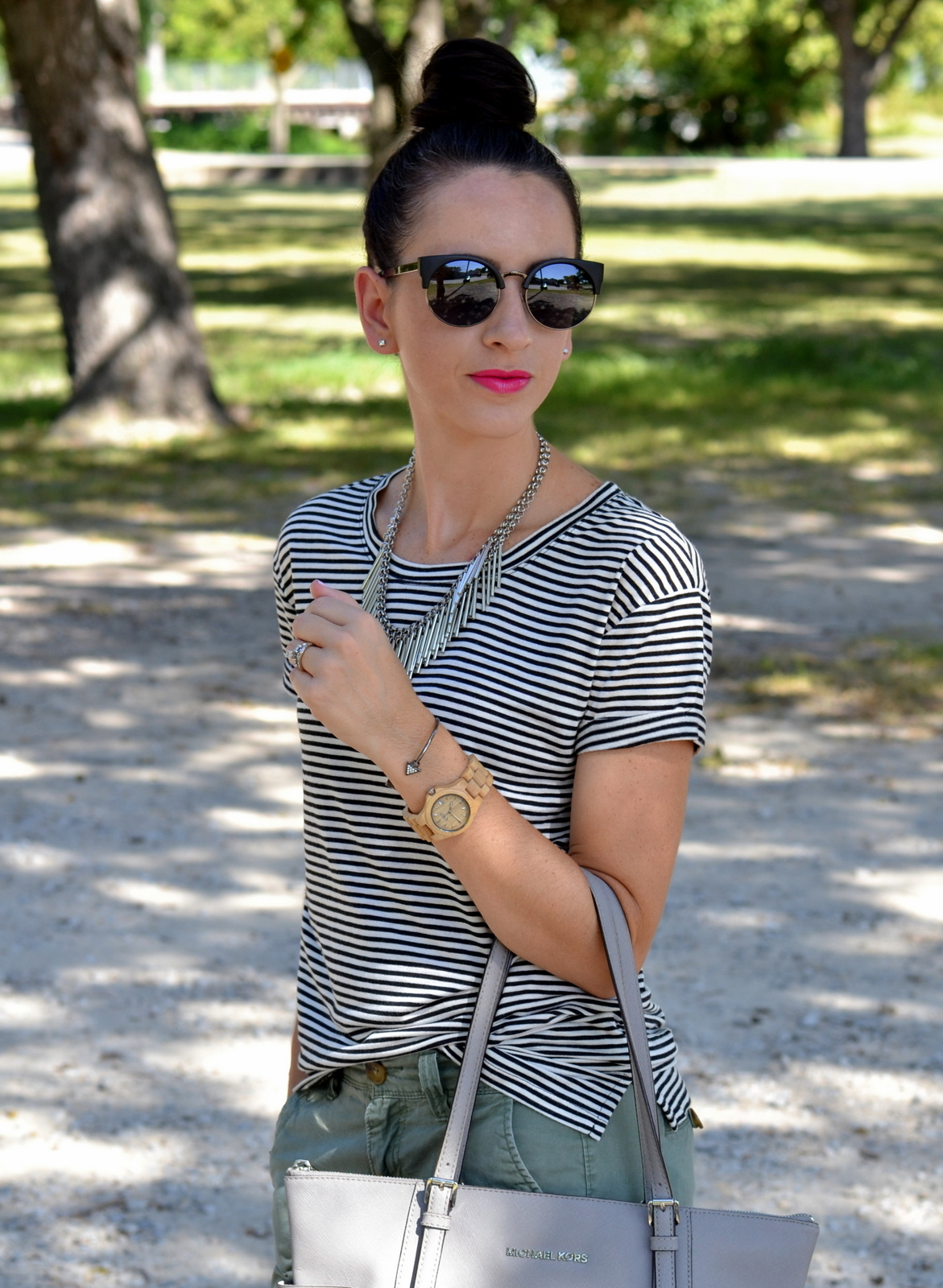 Cat Eye Sunnies, Striped Tee and Pink Lips