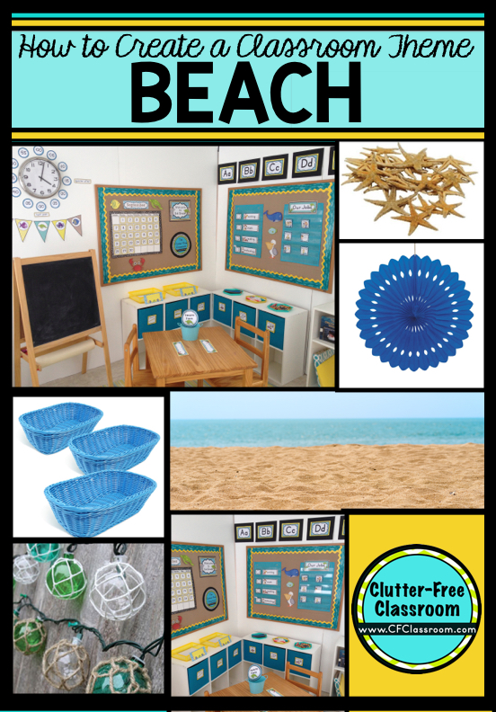 Are you planning a beach themed classroom or thematic unit? This blog post provides great decoration tips and ideas for the best beach theme yet! It has photos, ideas, supplies & printable classroom decor to will make set up easy and affordable. You can create a beach theme on a budget!