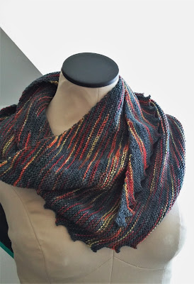 Hitchhiker scarf knit with Three Waters Farm yarn.