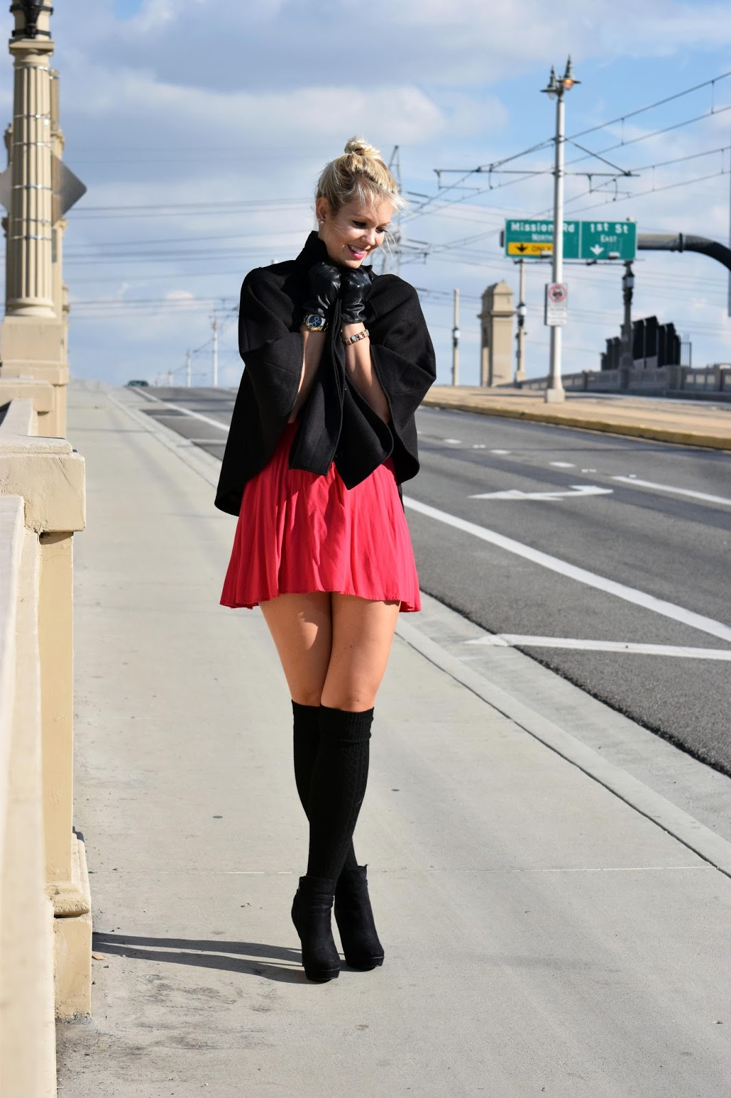 Valentine's day, date night, red dress, cape, black cape, what to wear on valentine's day