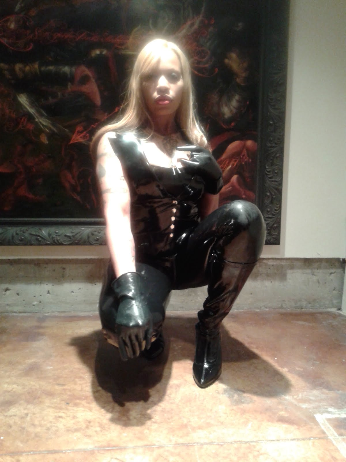 Blonde in Black Latex SF. CA. 2015