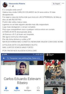 Desapareceu: Carlos Eduardo Estevan Ribeiro na região do Vale do Ribeira