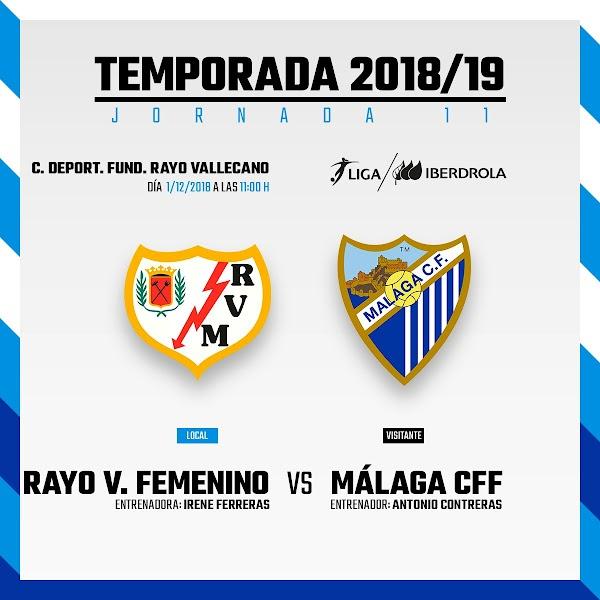 Rayo Femenino - Málaga Femenino, el sábado 1 de Diciembre a las 11:00 horas