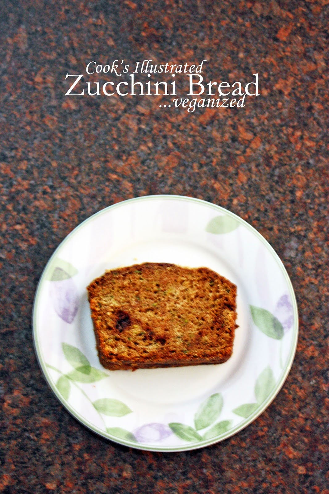 cook's illustrated zucchini bread, vegan recipe