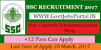 Staff Selection Commission Recruitment 2017 – 509 Male Constables (Telecommunication Wing)