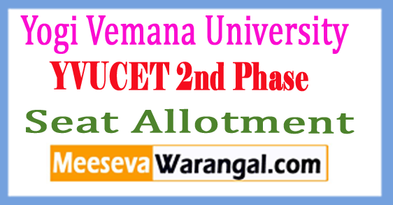 YVUCET 2nd Phase Seat Allotment 2018