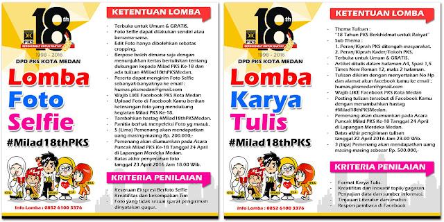 Semarakan Milad Ke-18, PKS Kota Medan Gelar Lomba Karya Tulis dan Foto Selfie