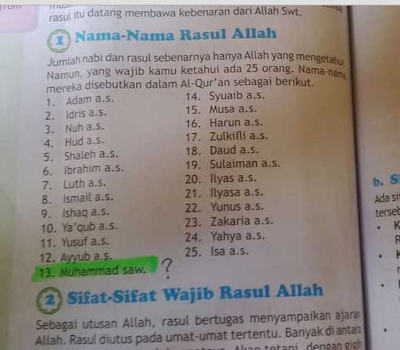 Astagfirullah!!! Beredar Buku SD Yang Mengubah Urutan Nabi Muhammad Menjadi Nabi ke-13