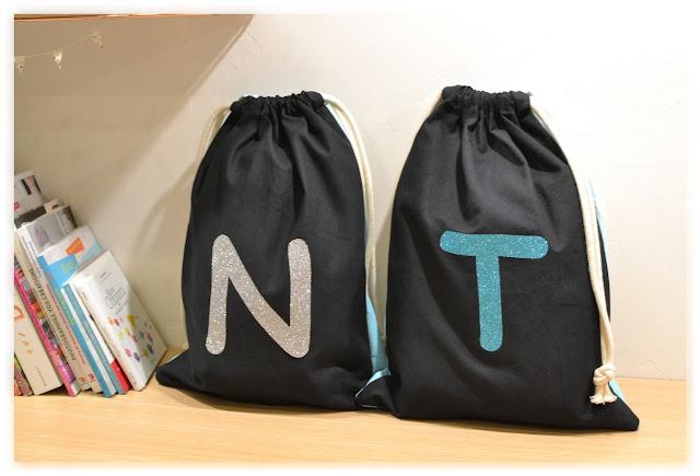 sacs pochons en tissu noir pour enfants avec lettres à paillettes