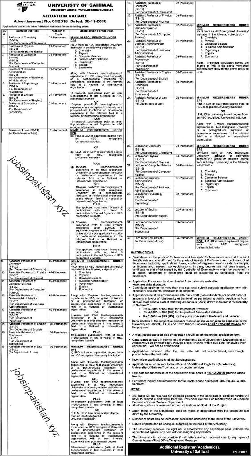 Advertisement for University of Sahiwal Jobs 2018