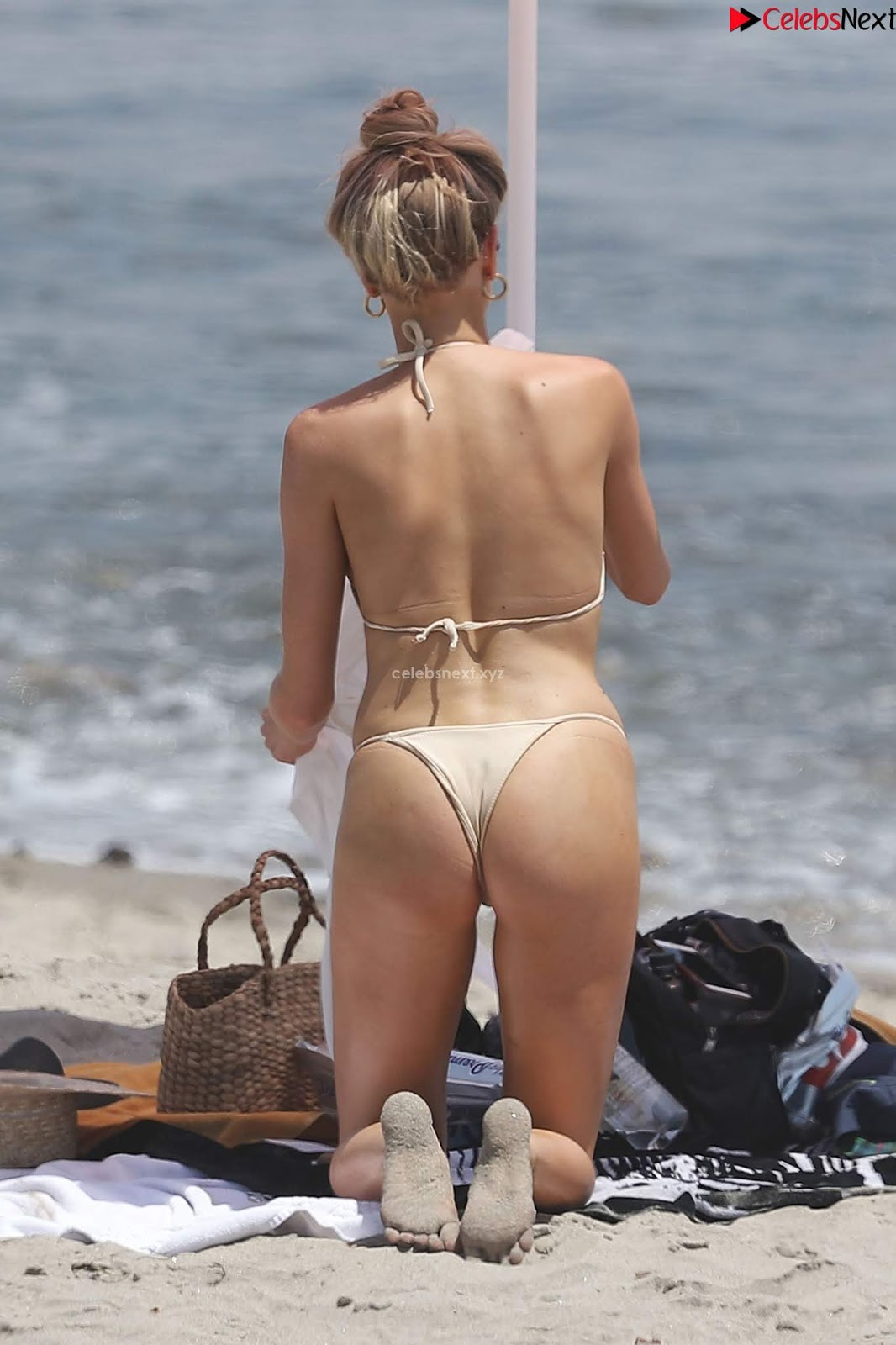 Charlotte McKinney Sexy Booty Ass Butts in Cream Colored Bikini on the beach in Malibu ~ CelebrityBooty.co Exclusive Celebrity Pics