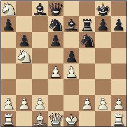 Partida de ajedrez Juncosa-Golmayo, posición después de 11.Cb5!?