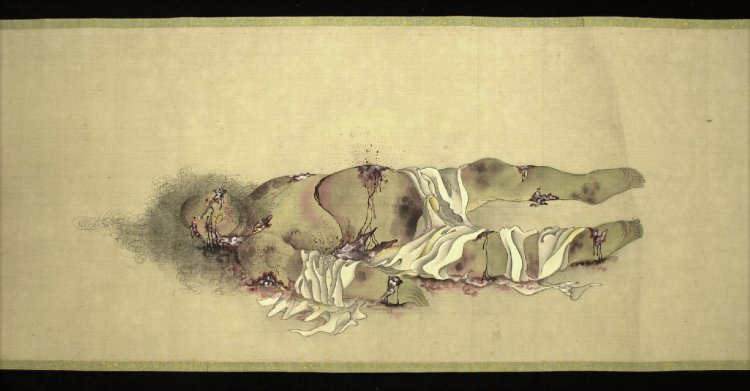Kusozu-Body of a courtesan in nine stages of decomposition