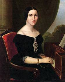 Giuseppina Strepponi in a portrait that can be seen at the museum at Teatro alla Scala