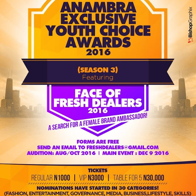 NOMINATION FOR ANAMBRA EXCLUSIVE YOUTH CHOICE AWARD 2016 HAVE STARTED