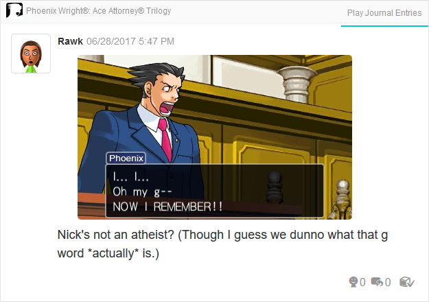 Phoenix Wright Ace Attorney Justice For All religion Christianity Atheist