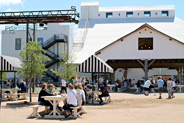 There is plenty of seating at Magnolia Market to enjoy your food truck deliciousness. You could find a spot to eat at any of their various picnic tables or grab a spot at one of the long communal tables under the shaded pavilion.
