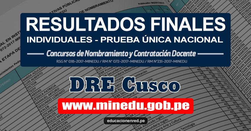 DRE Cusco: Resultado Final Individual Prueba Única Nacional y Relación de Postulantes Habilitados para Etapa Descentralizada Nombramiento Docente 2017 - MINEDU - www.drecusco.gob.pe