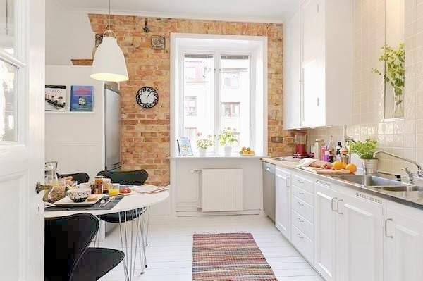 kuchnia z cegłą