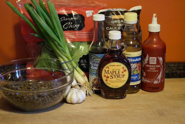 The ingredients needed for the Lentil and Book Choy Stir Fry Recipe.