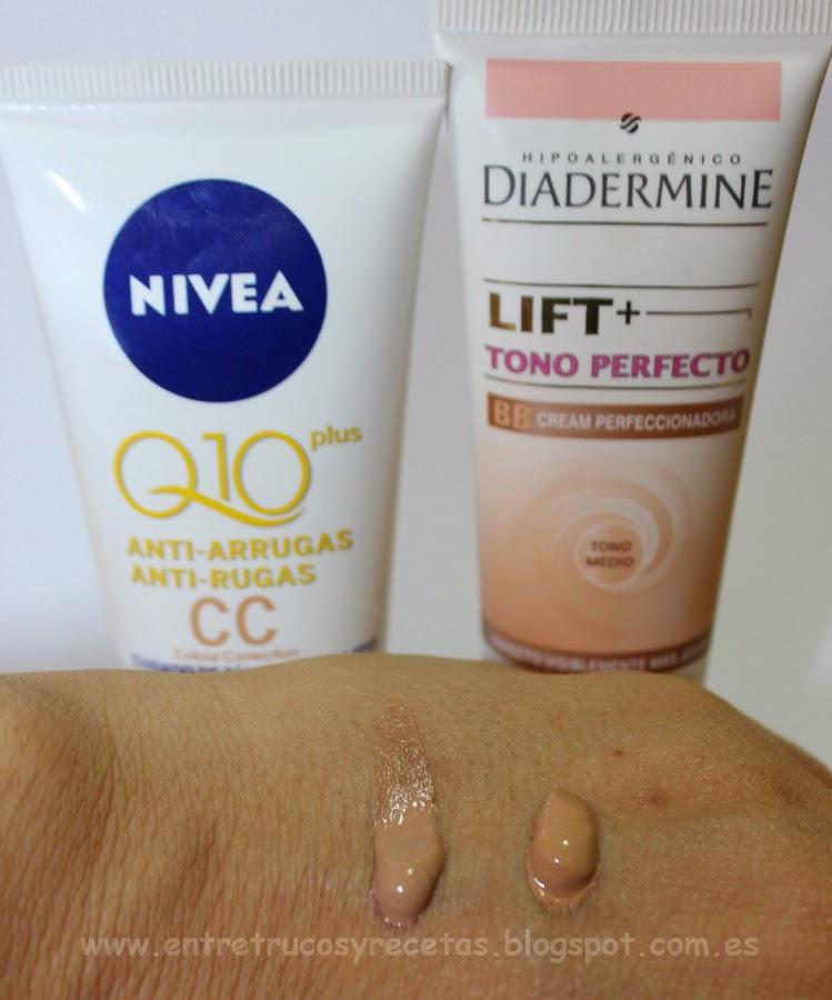 Diadermine Lift+ Tono Perfecto BB y Nivea Q10 plus CC...¡tanto monta, monta tanto!
