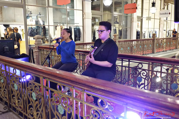 Live music; meet the designers night at The Strand Arcade. Photo by Kent Johnson.