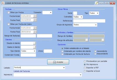 Impresion de listados en PDF en el software de taller