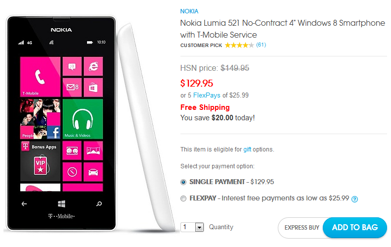 Get the Nokia Lumia 521 for $129.95 on HSN