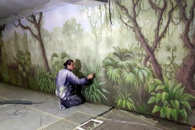 Malowanie lasu tropikalnego na ścianie , dżungla mural ścienny, malowanie dżungli na ścianie